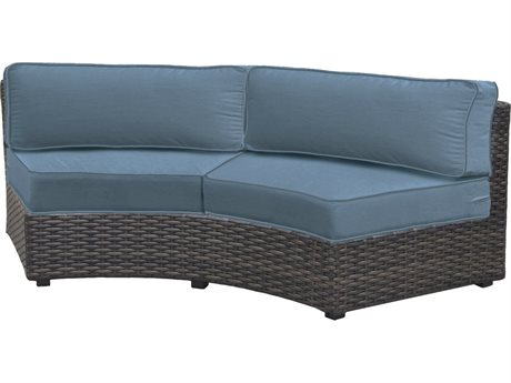 Forever Patio Quick Ship Horizon Bronze Smoke Wicker Sectional Contour Sofa