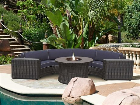 Forever Patio Horizon Bronze Smoke Wicker Four-Piece Sectional Set