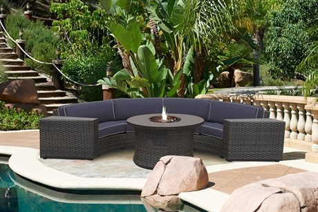 Forever Patio Quick Ship Horizon Bronze Smoke Wicker Four-Piece Sectional Set