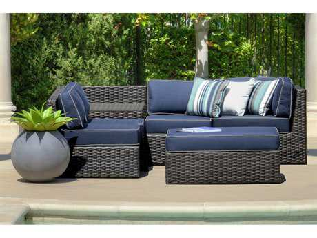 Forever Patio Horizon Bronze Smoke Wicker Six-Piece Sectional Set