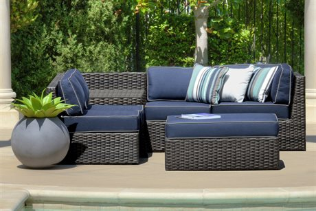 Forever Patio Quick Ship Horizon Bronze Smoke Wicker Six-Piece Sectional Set
