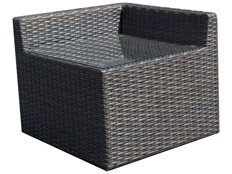 Forever Patio Horizon Wicker Bronze Smoke 32''Wide Corner Glass Top End Table PatioLiving