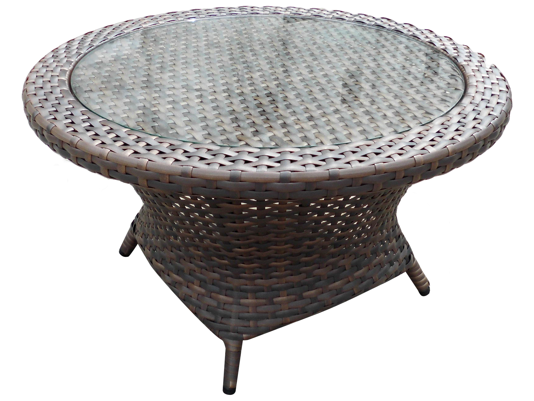 Forever Patio Horizon Wicker Bronze Smoke 34 Wide Round Glass Top Coffee Table Ncfphorctrndbs
