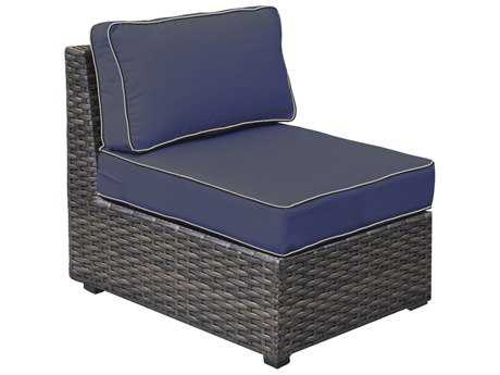 Forever Patio Horizon Bronze Smoke Wicker Sectional Middle Chair