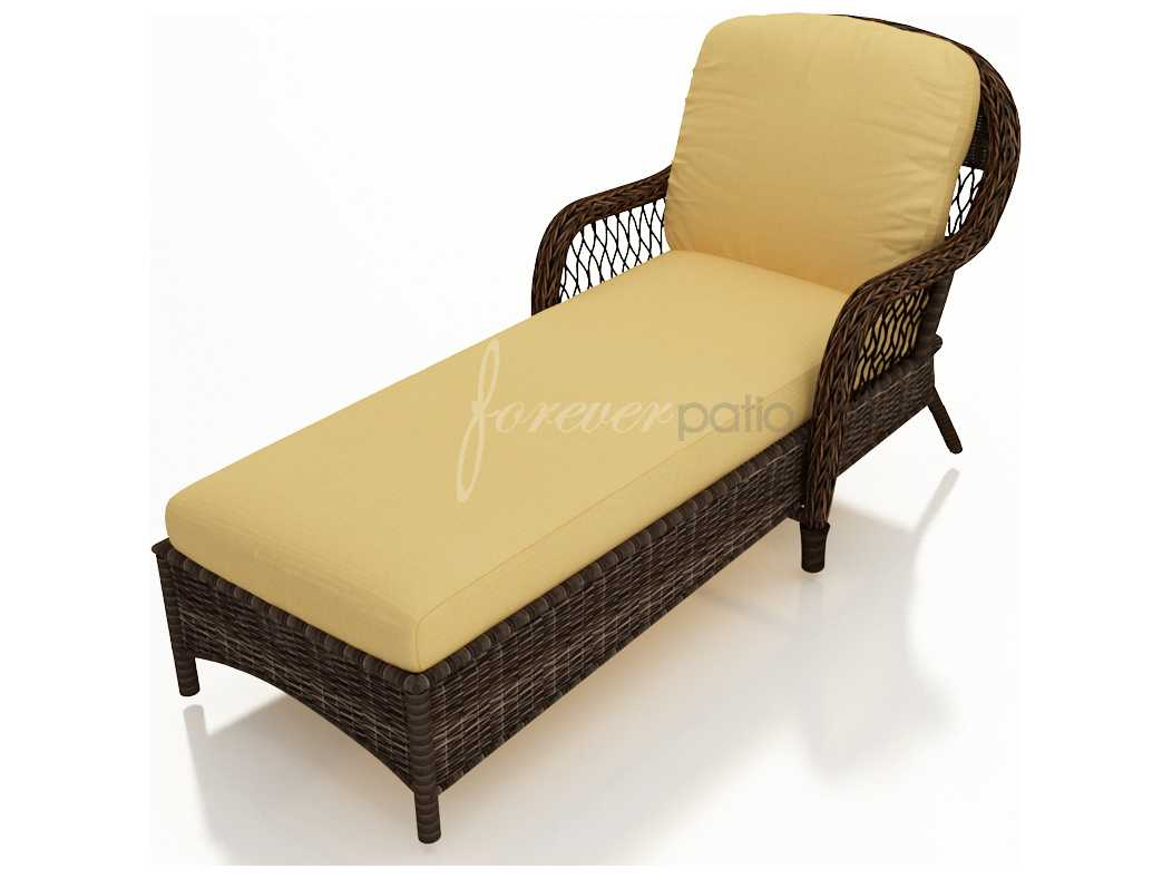 Forever patio leona wicker cushion arm chaise lounge for Armed chaise lounge