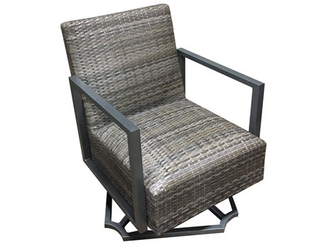 Forever Patio Mariner Wicker Heather Flat Padded Swivel Rocker Lounge Chair PatioLiving