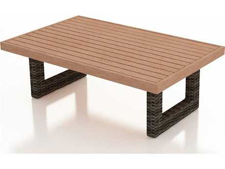 Forever Patio Pavilion Wicker 57.5 x 35.5 Rectangular Coffee Table with Durawood Top