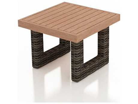 Forever Patio Pavilion Wicker 26.5 Square End Table with Durawood Top