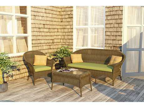 Forever Patio Quick Ship Rockport Chestnut Wicker Three-Piece Lounge Set