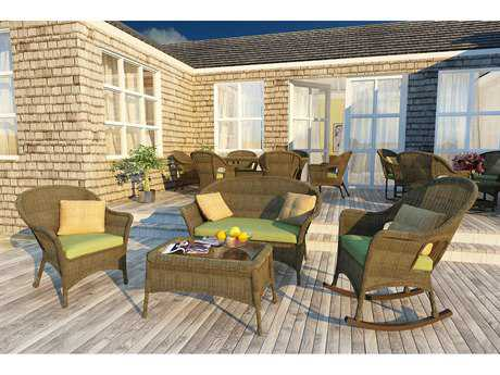 Forever Patio Rockport Chestnut Wicker Four-Piece Lounge Set