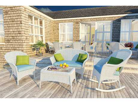 Forever Patio Rockport White Wicker Four-Piece Lounge Set