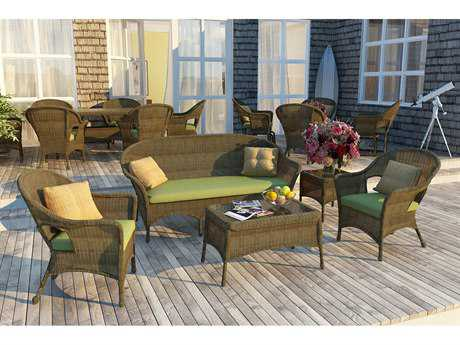 Forever Patio Rockport Wicker 5 Piece Sofa Set in Chestnut Full Round
