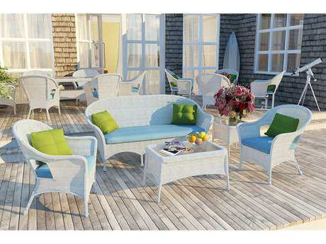 Forever Patio Quick Ship Rockport White Wicker Five-Piece Lounge Set