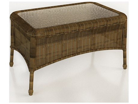Forever Patio Rockport Chestnut Wicker 32 x 21 Rectangular Coffee Table with Glass Top