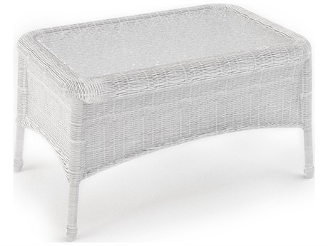 Forever Patio Rockport White Wicker 32W x 21D Rectangular Coffee Table with Glass Top