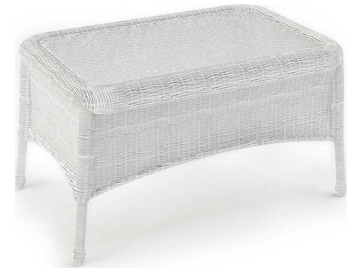 forever patio rockport wicker 32 x 21 rectangular glass top coffee table in white full round. Black Bedroom Furniture Sets. Home Design Ideas