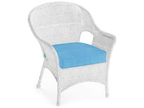 Beau Forever Patio Rockport White Wicker Lounge Chair