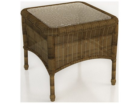 Forever Patio Rockport Chestnut Wicker 20 Square End Table with Glass Top