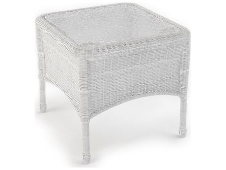 Forever Patio Rockport White Wicker 22 Square End Table with Glass Top