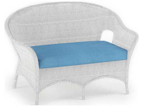 Forever Patio Rockport Wicker Loveseat in White Full Round