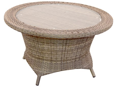 Forever Patio Universal Wicker 36'' Wide Round Rotating Glass Top Chat Table