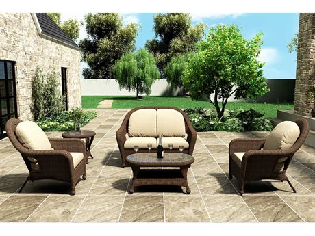 Forever Patio Winslow Brown Wicker Four-Piece Lounge Set