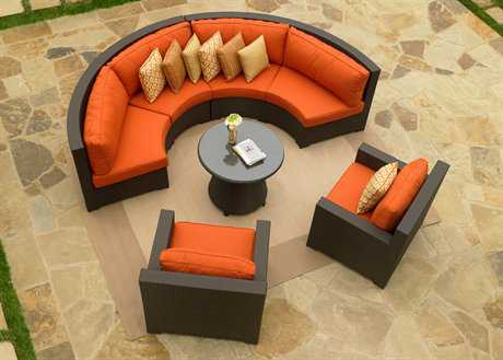 Forever Patio Melrose Wicker Conversation Curved Sectional Lounge Set