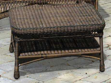 NorthCape Manchester Wicker 33 x 20 Rectangular Glass Coffee Table