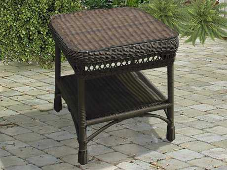 NorthCape Manchester Wicker 21 Square Glass End Table