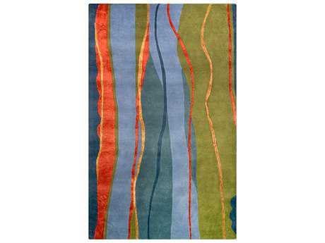 Noble House Citadel 5' x 8' Rectangular Green, Blue & Rust Area Rug