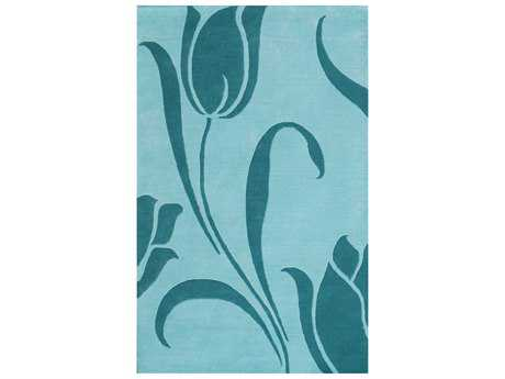 Noble House Floral Rectangular Light Blue Area Rug