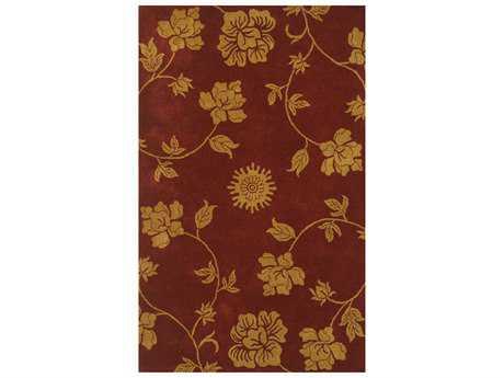 Noble House Floral Rectangular Burgundy & Gold Area Rug