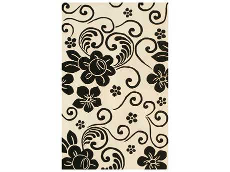 Noble House Floral Rectangular White & Black Area Rug