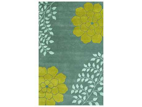 Noble House Gardenia Aqua Rectangular Area Rug