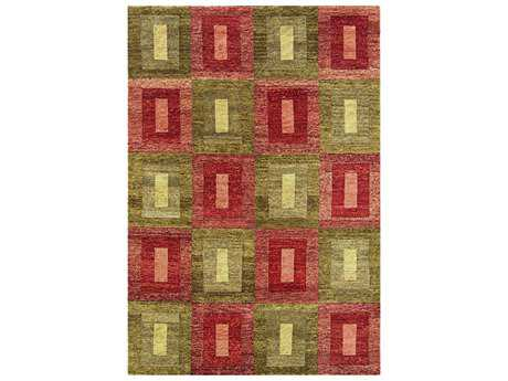 Noble House Legacy Rectangular Green & Rust Area Rug