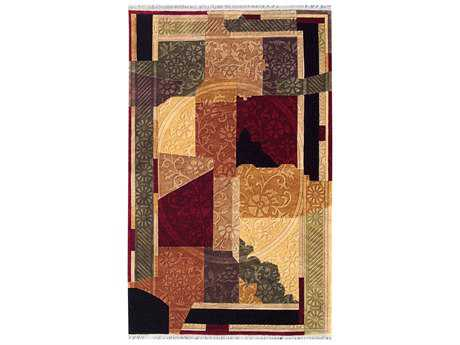 Noble House Noble Rectangular Red, Orange & Beige Area Rug