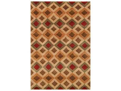 Noble House Noble Rectangular Red, Brown & Green Area Rug
