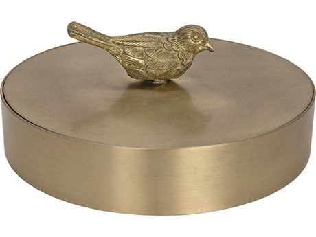 Noir Furniture Solid Brass Jewelry Box with Bird Knob