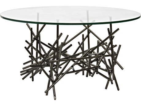 Noir Furniture Nest Metal & Glass 36'' Round Coffee Table