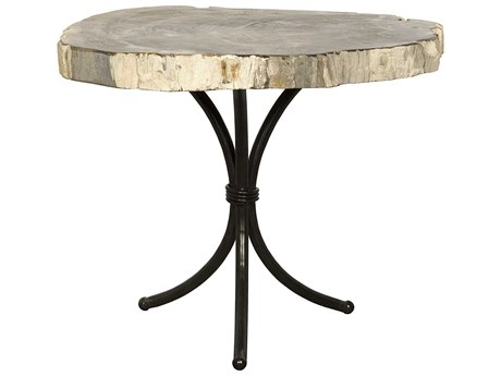 Noir Furniture Accent Petrified Round Pedestal Table