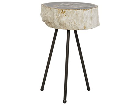 Noir Furniture Natura Petrified Wood 15'' Round Side Table