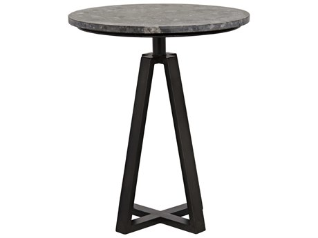 Noir Furniture Compasso Metal & Black Marble 20'' Round Pedestal Table
