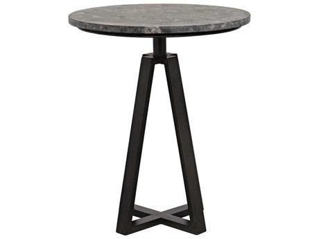 Noir Furniture Compasso Metal & Black Marble 20'' Round Pedestal Table
