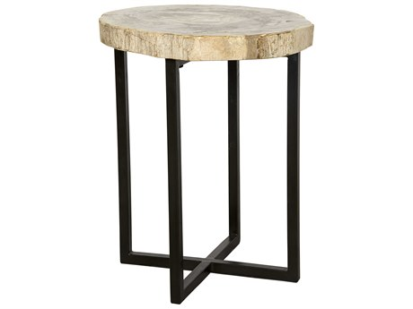 Noir Furniture Cross Base Metal & Petrified Fossil '' Round Side Table