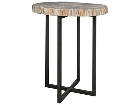 Noir Furniture Large Cross Base Petrified Top 25.5'' Round Foyer Table