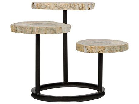 Noir Furniture Corado Metal & Petrified Wood 35'' x 31'' Round End Table