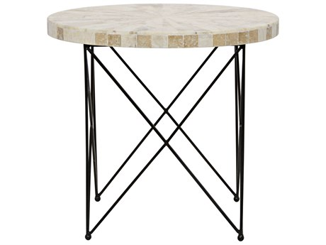 Noir Furniture Morcheeba Metal & Petrified Wood 30'' Round Foyer Table