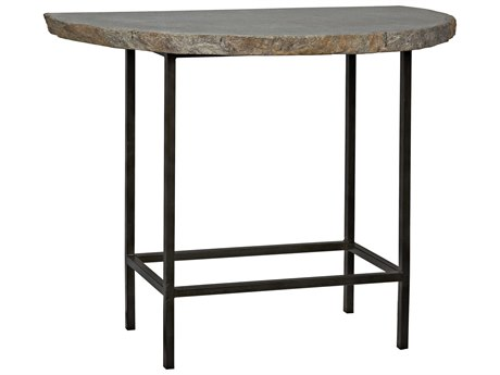 Noir Furniture River Stone 38'' x 19.5'' Demilune Console Table