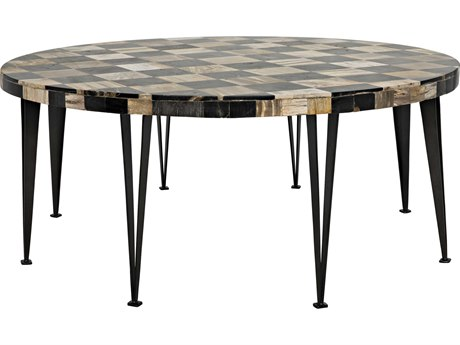Noir Furniture Carim Fossil Inlaid 43'' Round Coffee Table
