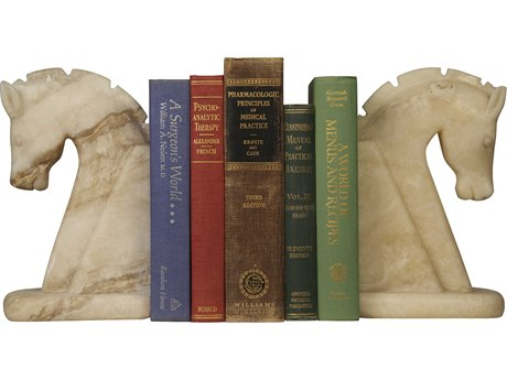 Noir Furniture Horse White Marble Bookend